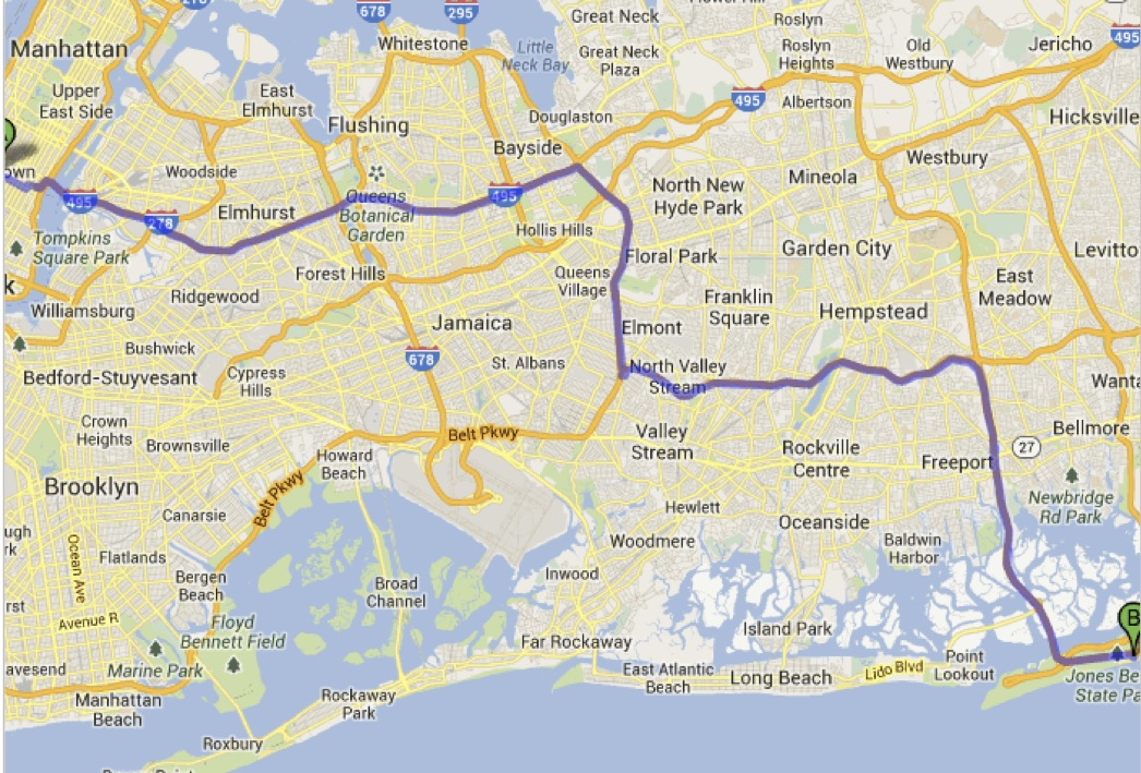 "Preview of ""Midtown, New York, NY to Jones Beach State Park - Google Maps"""